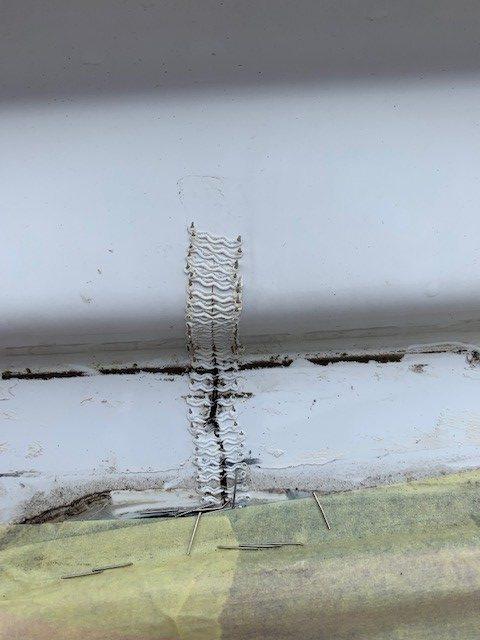crack above caravan window